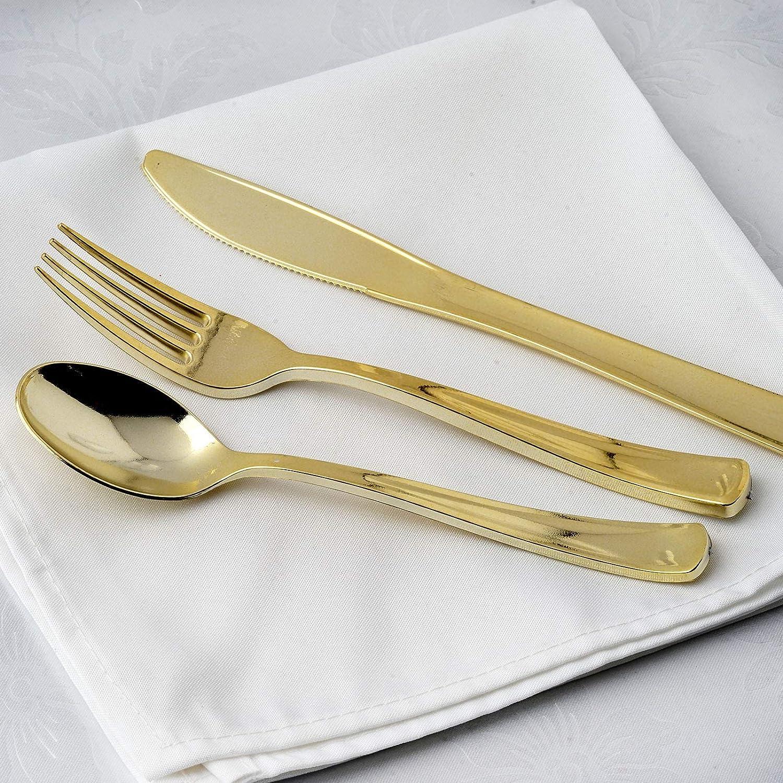 Efavormart 48pcs Metallic Gold Disposable Plastic Kansas City Mall Set fo Max 65% OFF Cutlery