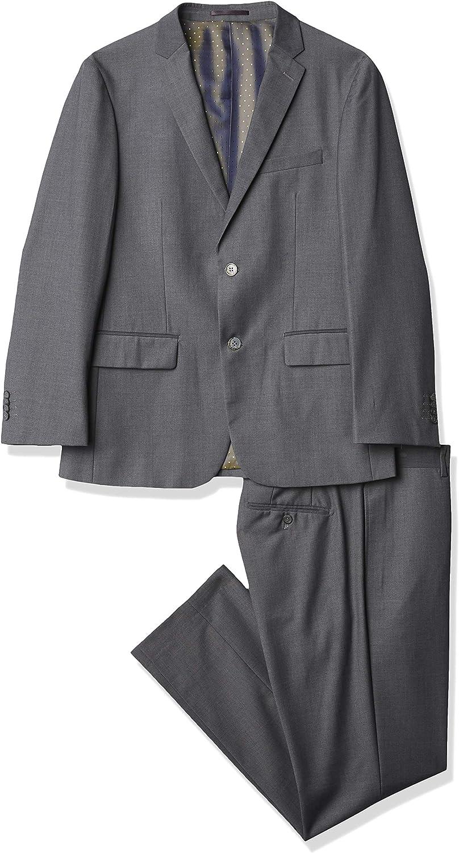 Kitonet Men's Solid 2-Piece Slim Fit Suit, Gray, 40S