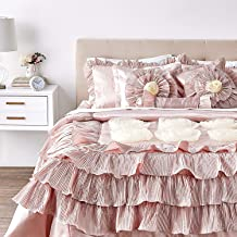 Tache Home Fashion 1612 Floral Ruffled Champagne Satin Victorian Comforter Bedding Set, Cal King, Cinnamon Chai