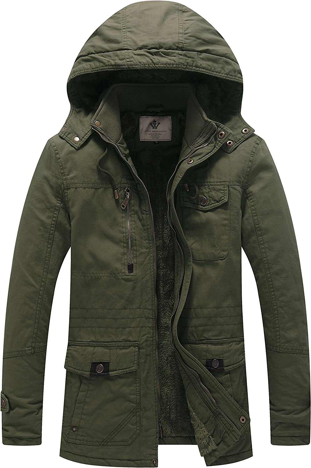 cc353372dc4 with Parka Cotton Thicken Winter Men's WenVen Removable Jacket Hood ...