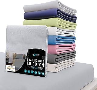 Dreamzie - Drap Housse 140x200 cm - 100% Coton Jersey Certifié Oeko-TEX® - Gris - pour Matelas 140 x 200 x 22 cm avec Gran...