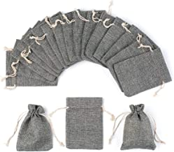 YUXIER 25pcs Burlap Bags with Drawstring Gift Bags Burlap Treat Bags for Wedding, Party,Arts Crafts Projects, Presents,Small Bottles Jewelry,(5.3x3.7inch) (Grey)