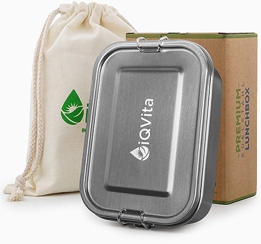 iQVita® Premium Edelstahl Brotdose – 800ml – Auslaufsichere Lunchbox mit Flexibler Trennwand – 2 Fächer – BPA- & Plastikfrei – Umweltfreundlich und…
