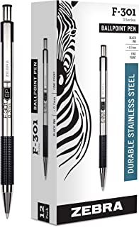 Zebra F-301 Ballpoint Stainless Steel Retractable Pen, Fine Point, 0.7mm, Black Ink, 12-Count (Packaging may vary)