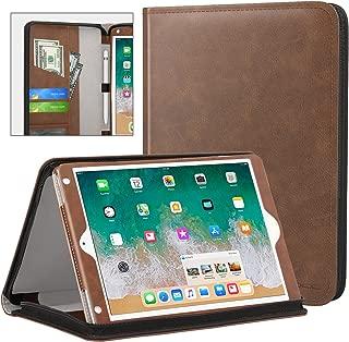 MoKo Case for Apple iPad 9.7 Inch 2018/2017(iPad5/iPad6)/iPad Air/iPad Air 2 Tablet, Genuine Executive Portfolio Case Slim Folding Stand Cover with Document Card Slots, Brown