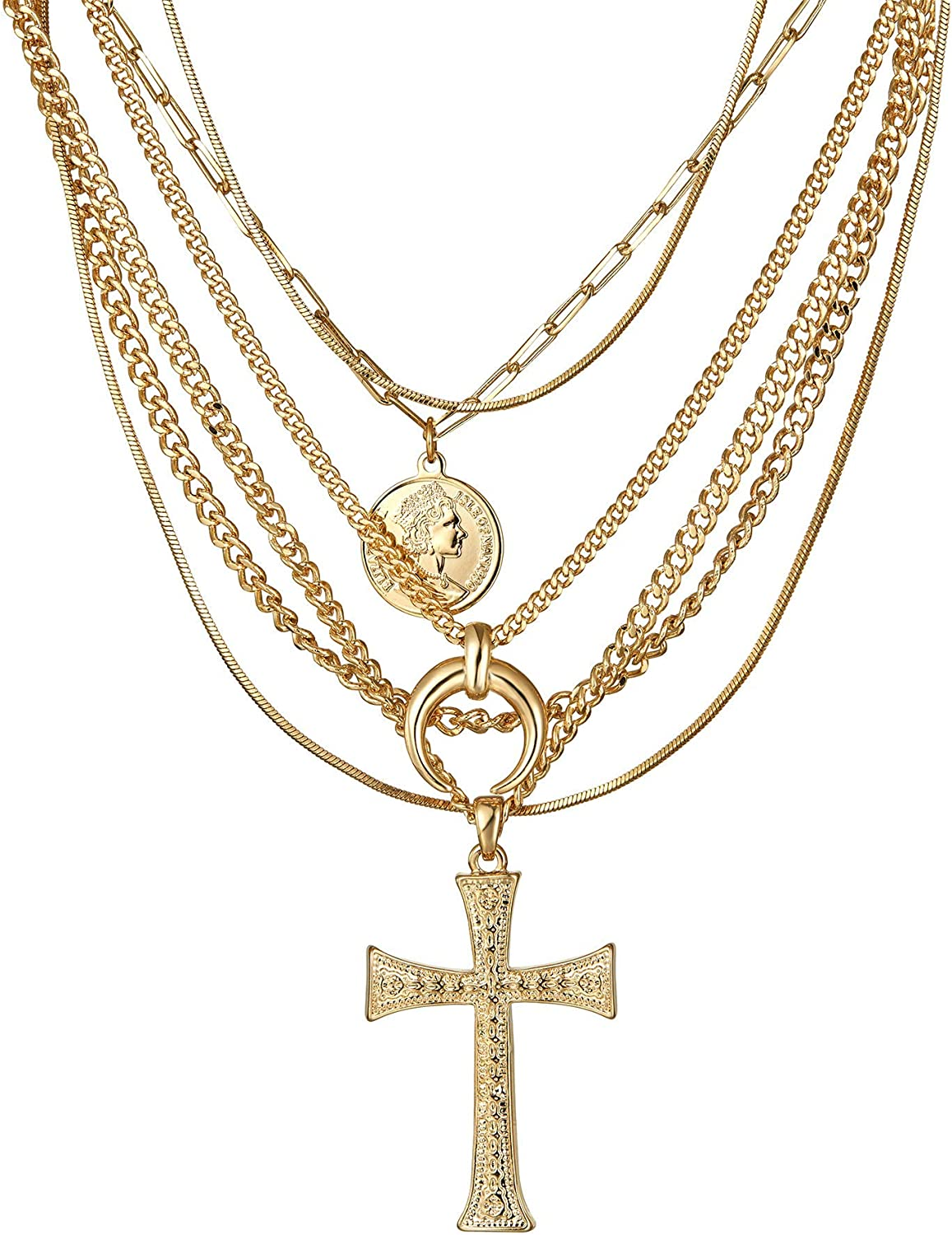ACC PLANET Layered Choker Necklace, 14K Gold Plated Cross Pendant Necklace Set Gold Layering Necklaces for Women