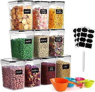 GoMaihe Lot de 10 boîtes de rangement en plastique avec couvercles hermétiques - 1,6 l - Conviennent pour la nourriture, l...