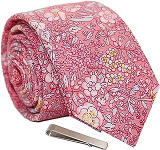 Men's Skinny Tie Floral Print Cotton Necktie and Tie Bar Clip Sets, Great for Weddings, Groom, Groomsmen, Dances, Gifts