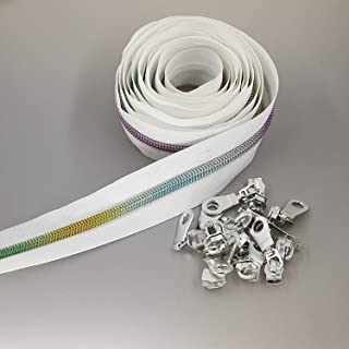 #5 Metallic Nylon Coil Zippers by The Yard Colorful Teeth Zipper Bulk 10 Yards White Tape with 25pcs Silver Sliders for DI...