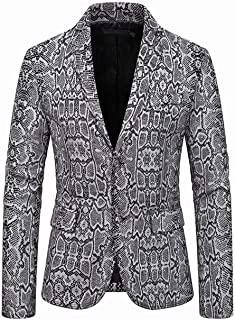 Men's Printed Slim Fit Performence Blazer Two Buttons Tuxedos Jacket Peak Lapel Prom Party Coat Casual Coat