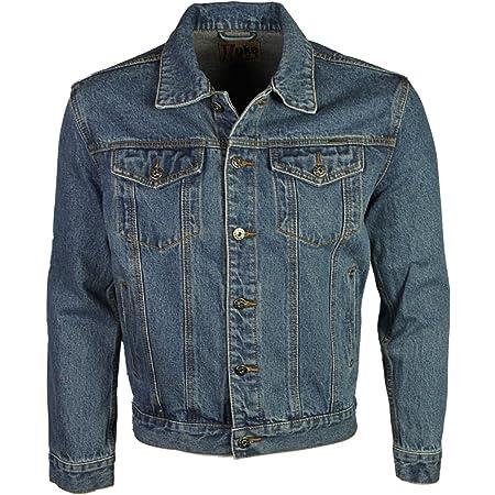 Duke London Mens Denim Jacket Trucker Casual in Stonewash & Black Colour (2XL, Stonewash)