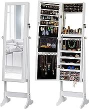 LUXFURNI LED Light Jewelry Cabinet Standing Mirror Makeup Lockable Armoire, Large Storage Organizer w/Drawers