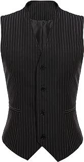 Beyove Womens Pinstripe Vest V-Neck Business Slim Fit Waistcoat