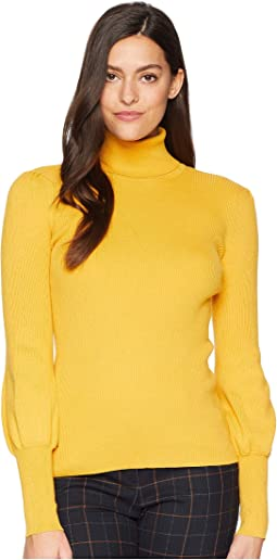 Ribbed Puff-Sleeve Sweater