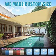 Amgo 8' x 12' Beige Rectangle Sun Shade Sail Canopy Awning, 95% UV Blockage, Water & Air Permeable, Commercial and Residential, for Patio Yard Pergola, 5 Years Warranty (Available for Custom Sizes)