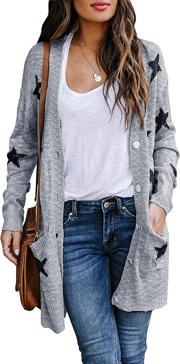Womens Open Front Button Down Cardigans Plus Size Long Sleeve Star Print Knit Casual Sweater Outwears with Pockets Grey