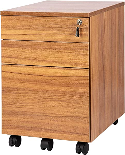 TOPSKY 3 Drawers Wood Mobile File Cabinet Fully Assembled Except Casters Oak Brown Letter Size