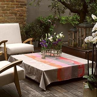 LE JACQUARD FRANÇAIS - Nappe enduite Fleurs Gourmandes Lin - Rectangulaire - 175 x 320 cm