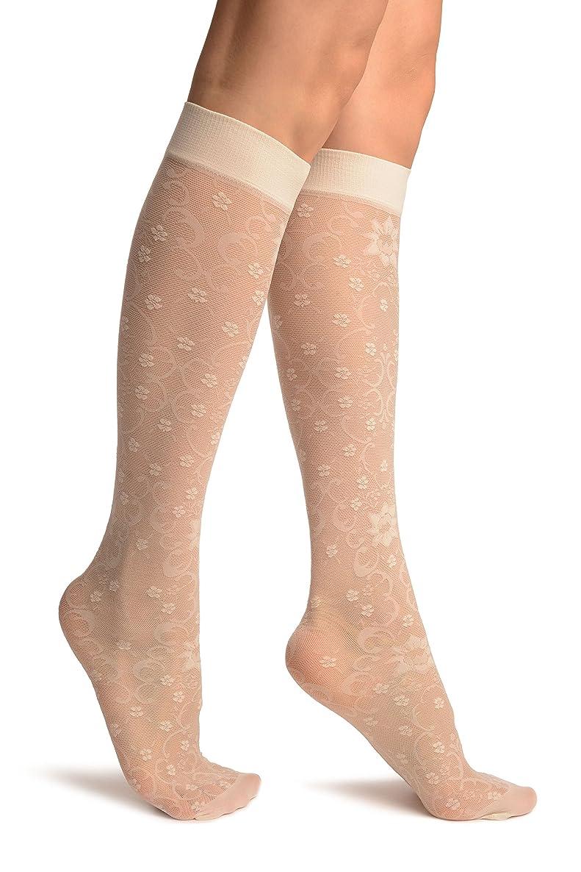 Cream Orchids On Lace Socks Knee High - Socks