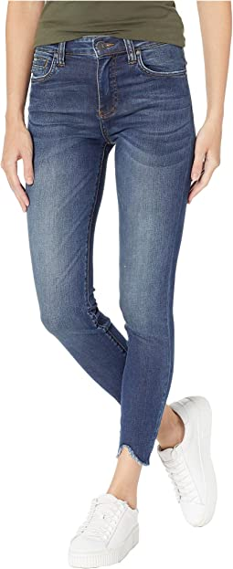Connie Ankle High-Rise Skinny Jeans w/ Step Hem in Behave w/ Dark Stone Base Wash