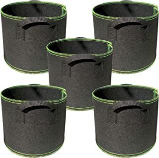 T Tersely【5 Pack】 5 Gallon Plant Grow Bag Fabric Pots, Indoor Garden Planter Bags for Vegetable Potato Growing, Premium Br...