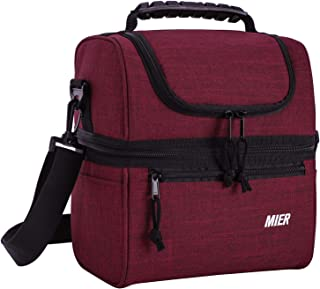 MIER Adult Lunch Box Insulated Lunch Bag Large Cooler Tote Bag for Men, Women, Double Deck Cooler (Dark Red, Medium)
