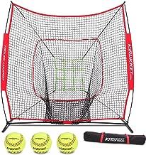 Rukket 6pc Softball Bundle | 7x7 Hitting Net | Batting, Pitching, Catching Screen | Includes Bow Frame Net, 3 Softballs, Strike Zone and Carry Bag