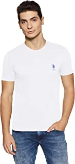 US Polo Association Men's Solid Regular Fit T-Shirt (I633-001-PL_White_Large)