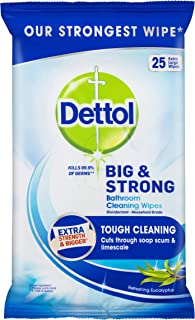 Dettol Big & Strong Antibacterial Eucalyptus Bathroom Cleaning Wipes 25 Pack, 0.560 Kilograms