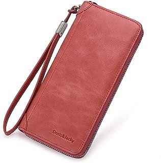 Women Leather Wallet RFID Blocking Large Capacity Zipper Around Travel Wristlet Bags (Coral)