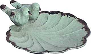 NIKKY HOME Decorative Jewelry Dish with Metal Distressed Bird and Leaf, 4.37