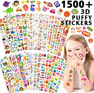 Kid Stickers 1500+, 22 Different Sheets, 3D Puffy Stickers for Girls Boys, Bulk Stickers for Kids Birthday Gift, Scrapbook Stickers, Bullet Journals, Including Animals, Dinosaur, Alphabet and More