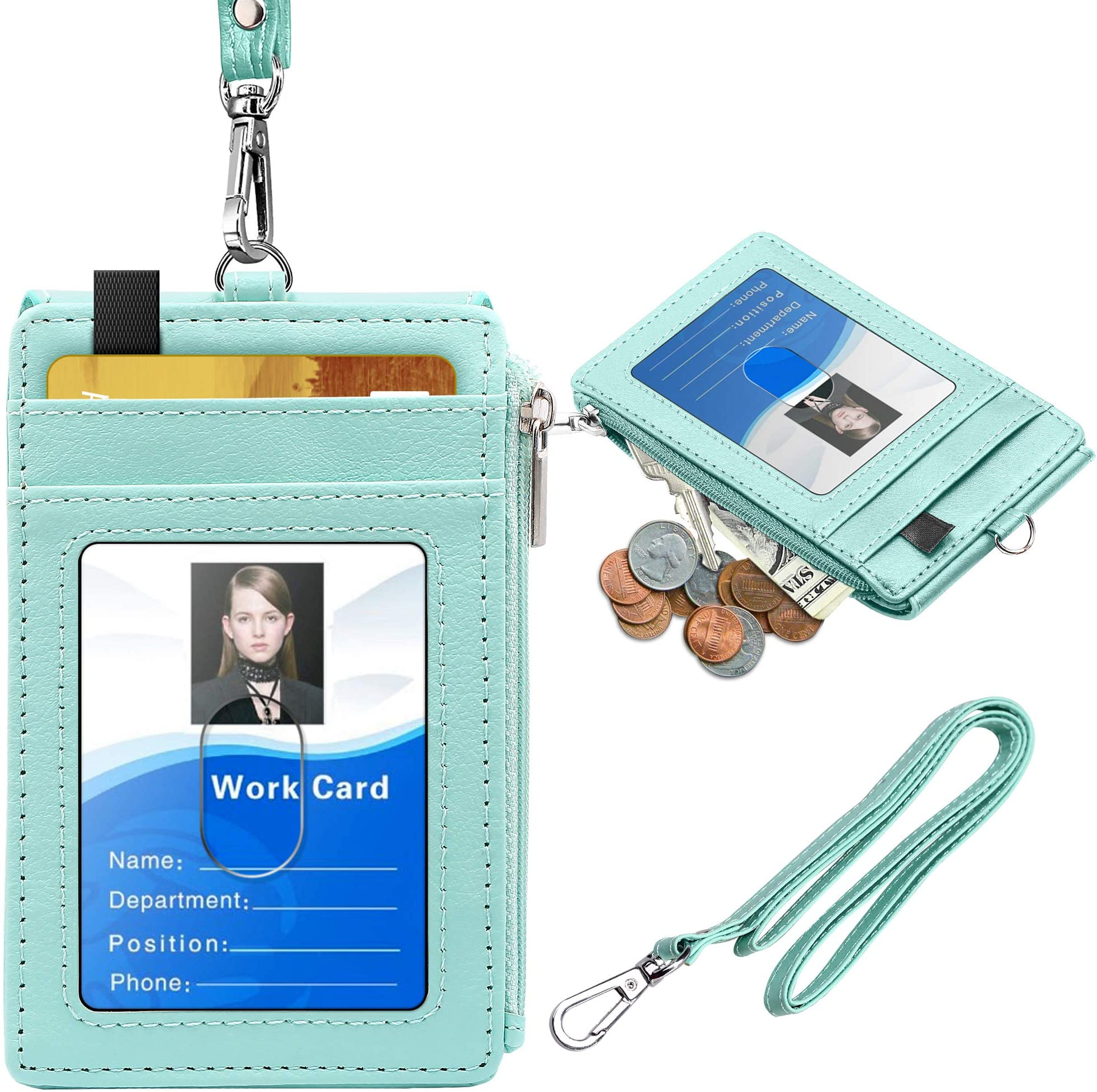 Durable Acrylic ID Name Card Holder Pocket  Staff Work ID Badge Holder Case 1Pc