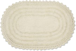 DII Crochet Collection Bath Mat, Large Oval, 21x34, Off White