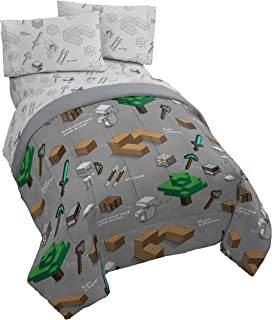 Jay Franco Minecraft Survive 5 Piece Full Bed Set - Includes Reversible Comforter & Sheet Set - Super Soft Fade Resistant Polyester - (Official Minecraft Product)