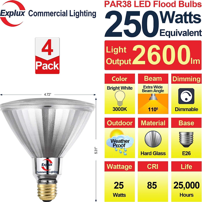 Outdoor Full-Glass Weatherproof 2700K 2-Pack 2500 lumens Dimmable Soft White Explux 300W Equivalent LED PAR38 Flood Light Bulbs