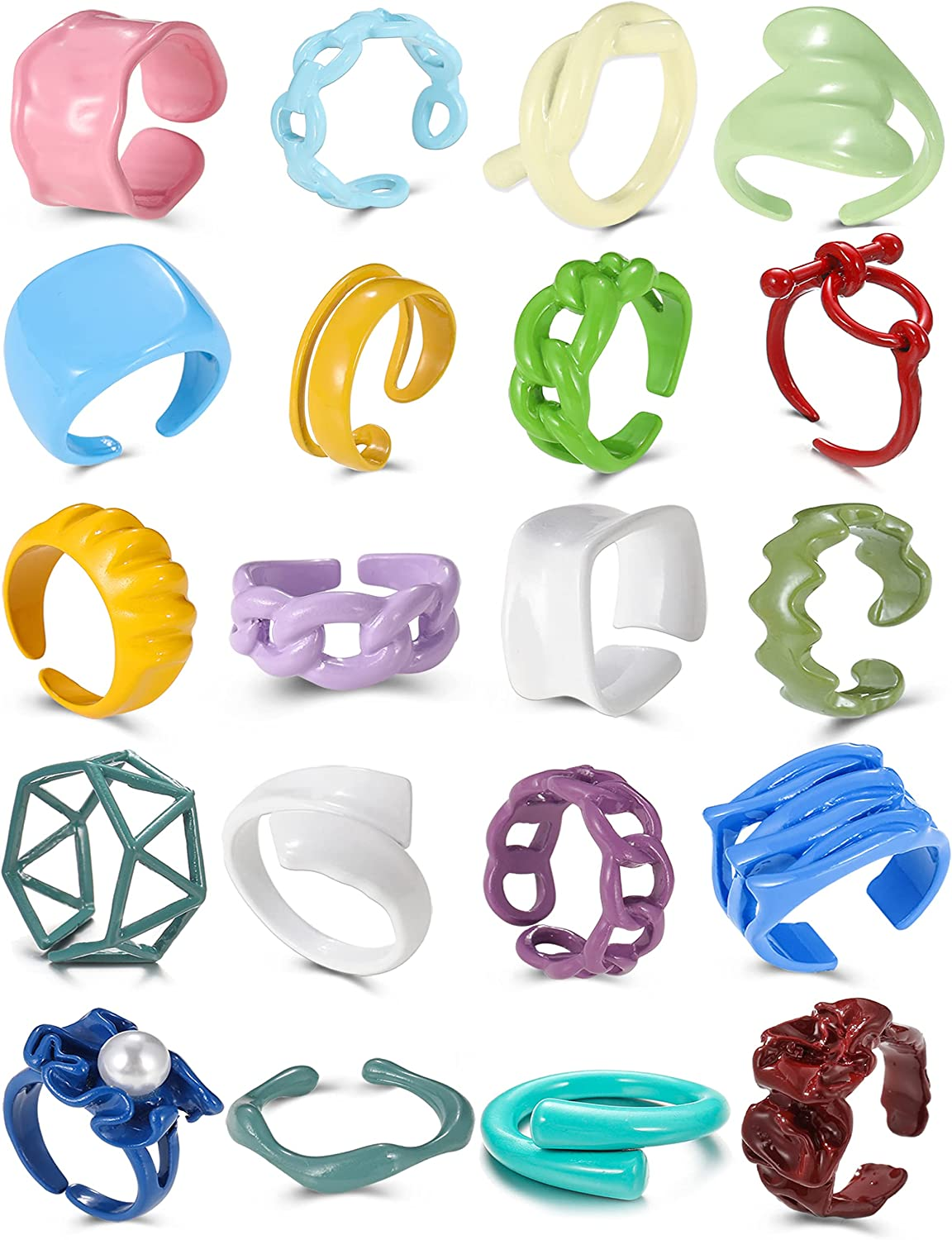 Chunky Rings Colorful 20 PCS Funky Tr Mesa Mall Resin Cute Nippon regular agency Ring Set Open
