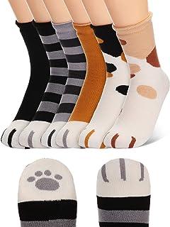 SATINIOR, Calcetines de Garra de Gato Calcetines de Pata de Gato Cálidos de Algodón para Mujeres Calcetines Zapatilla de Gato Cómodo (Multicolor, 6)