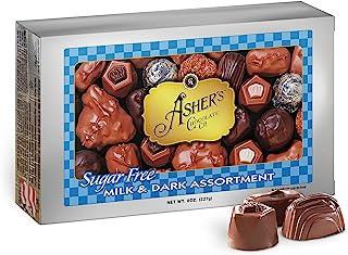 Asher`s Chocolates, Sugar Free Chocolate Candy, Milk and Dark Chocolate Assortment, Small Batches of Kosher Chocolate, Fam...