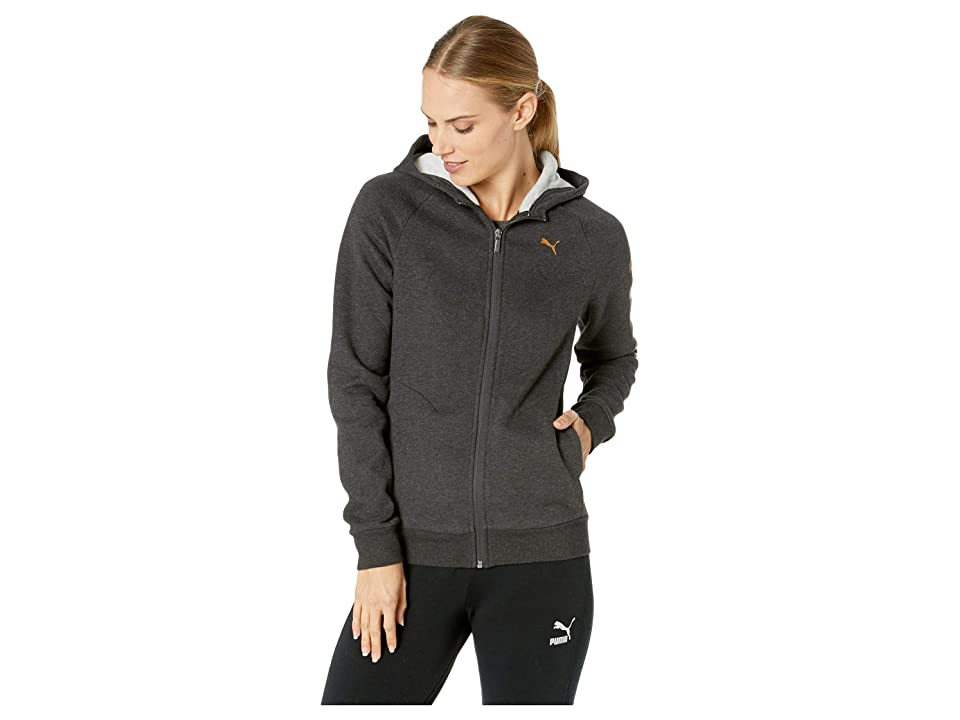 PUMA Athletic Full Zip Fleece Hoodie (Dark Grey Heather) Women