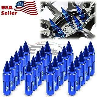 EZAUTOWRAP Blue 20 PCS M12x1.5 Lug Nuts Spiked 60mm Extended Tuner Aluminum Wheels Rims Cap WN03