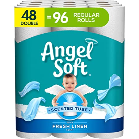 Angel Soft Toilet Paper with Fresh Linen Scent, 48 Double Rolls= 96 Regular Rolls, 200+ 2-Ply