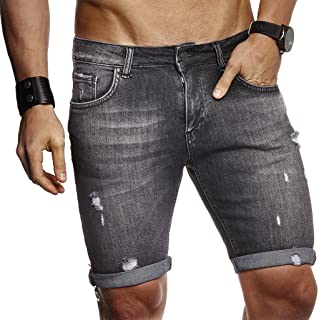 LEIF NELSON Men's Summer Short Denim Shorts Jeans Shorts 5Pocket Destroyed Used Stretch Casual Trousers
