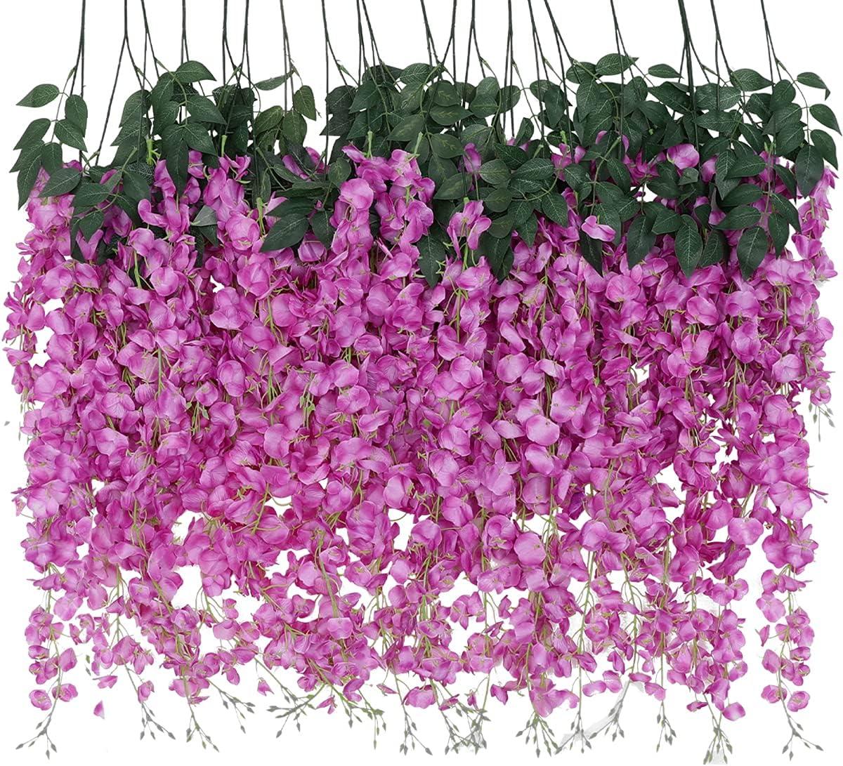 Veryhome 12 Pcs Artificial Cheap sale Silk service Vine Hanging Ratta Wisteria