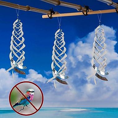 Hausse Bird Repellent Spiral Reflectors Silver Mylar Spinner, Hanging Reflective Bird Deterrent Device, Garden Decorative Sca