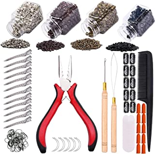 Hair Extension Kit Pliers Pulling Hook Loop Needle Threader Hair Extensions Tools with 4 Color Micro Ring Beads (Black, Br...
