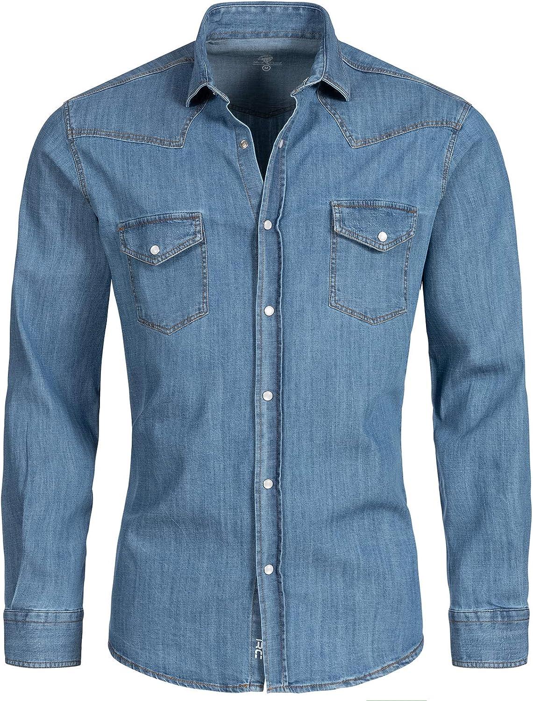 Rock Creek - Camisa vaquera para hombre, color azul, manga larga, corte normal, tallas S-XXL