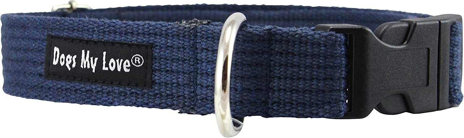 Cotton Web Adjustable Dog Collar 4 Sizes bluee (Large  Neck 16 23 ; Width 1 )