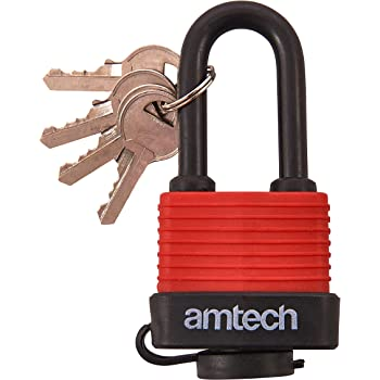 Am-Tech/ /Candado de grillete Largo Resistente a la Intemperie t0765/50/mm 1/Rojo
