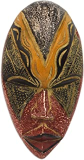 NOVICA Red and Yellow Carved Wooden African Wall Mask from Ghana, Stunning Amahle'